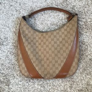 Authentic GUCCI Small Tan GG Canvas Hobo